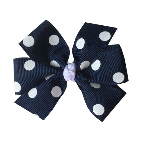 Medium Navy with White Polka Dot Hair Bow