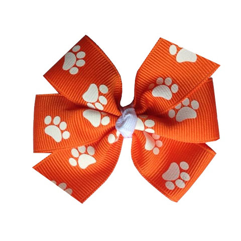 "Clemson Medium 3"" Orange Paw Print Hair Bow"
