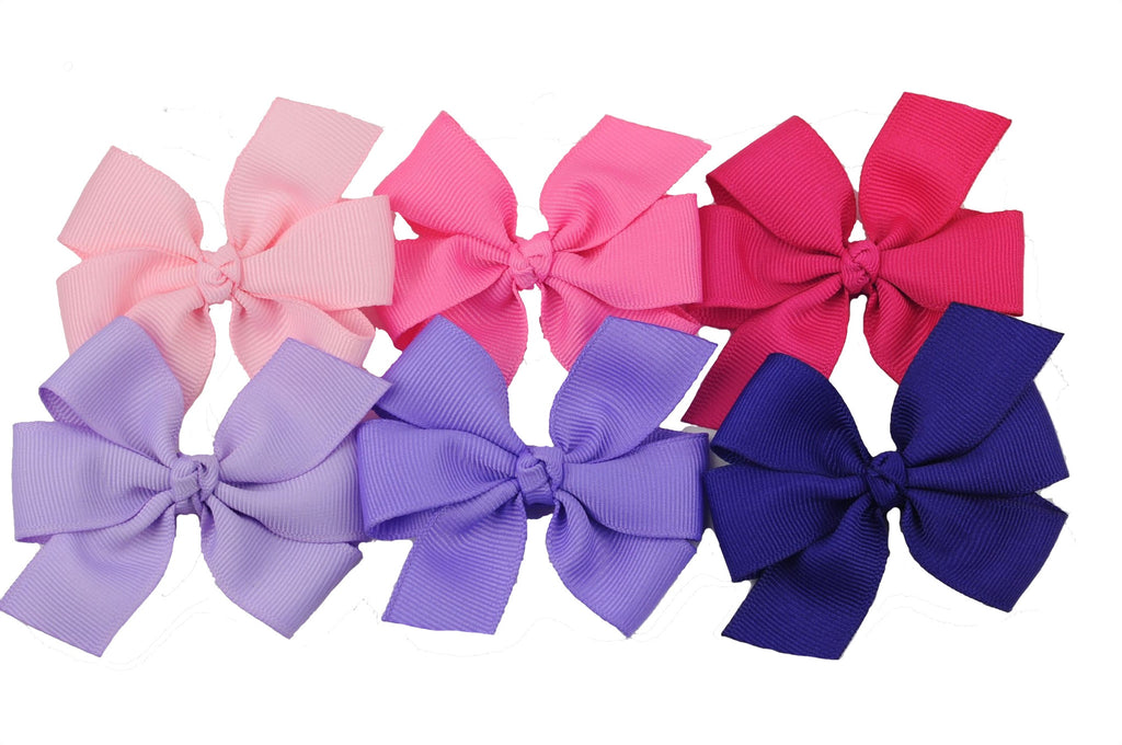 Pink and Purple Solid Pinwheel Bow Bundle - Six Bows - Choose from 4 sizes