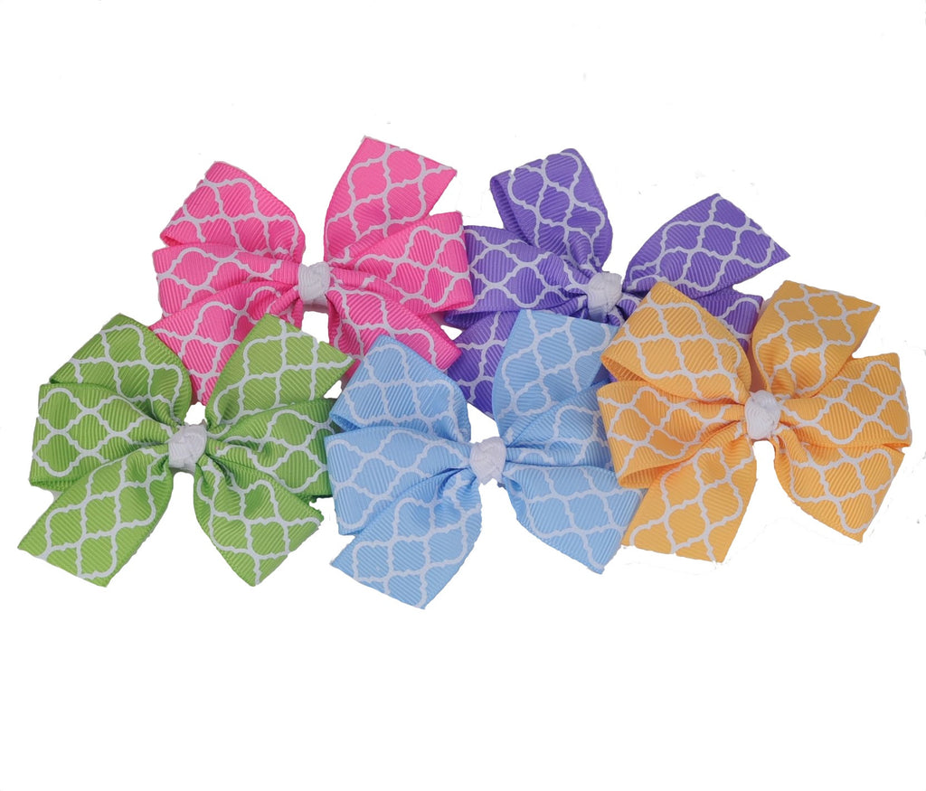 Quatrefoil Hair Bows - Narrow Ribbon - 5 Colors 2 Sizes