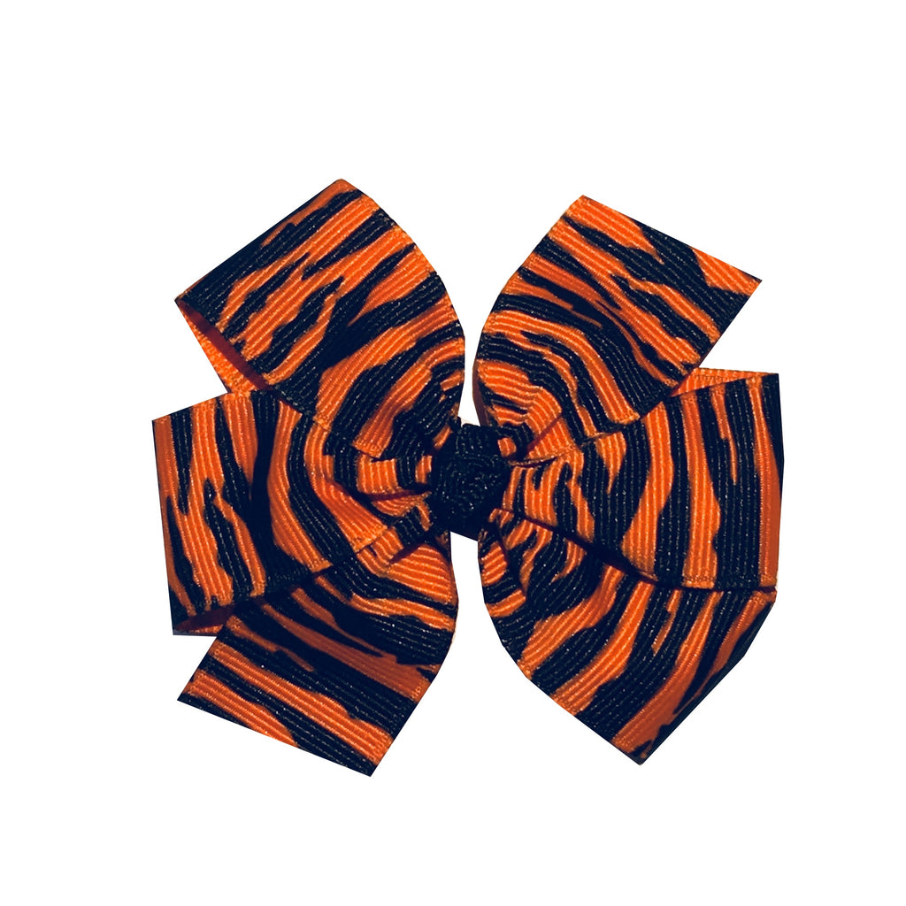 "Medium 3"" Tiger Stripe Pinwheel Bow - Orange and Black"