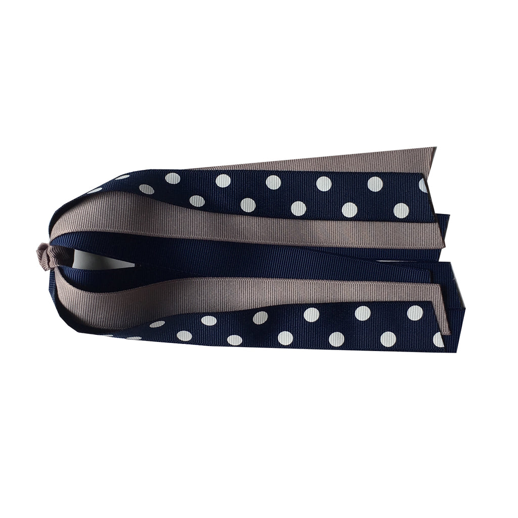 Navy and Grey Polka Dot Ponytail Streamer