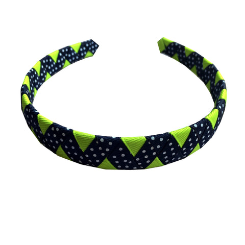 Lypple Green and Navy Dot ZigZag Headband
