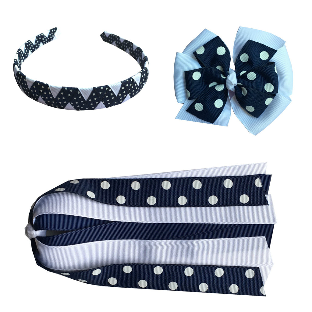 Navy and White Polka Dot Large Bow, Headband, and Streamer Bundle