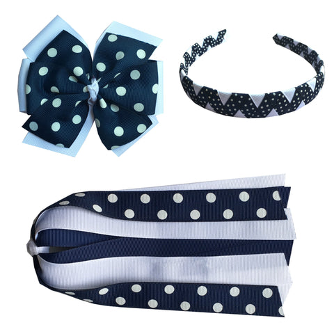 Navy and White Polka Dot Extra Large Bow, Headband, and Streamer Bundle