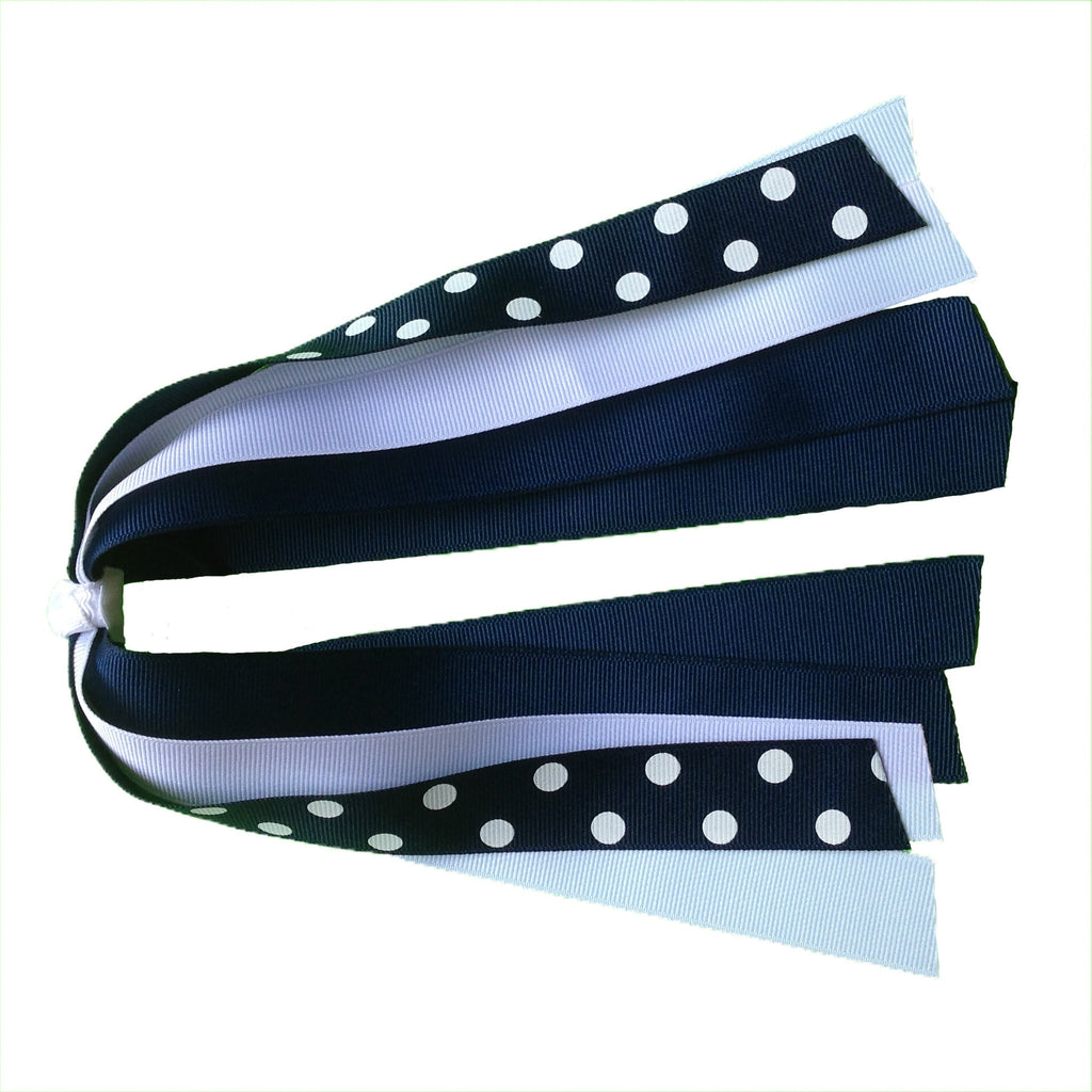 Navy and White Polka Dot Ponytail Streamer