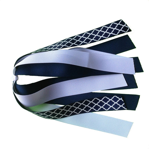 Navy and White Quatrefoil Ponytail Streamer