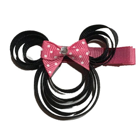 Pink Dot Bow Minnie Mouse Hair Clip
