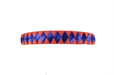 Orange and Royal Blue Woven Headband featuring non-shedding 'glitter' ribbon