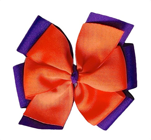 "Clemson Large 5"" Layered Orange and Purple Hair Bow"