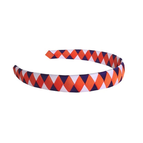 Orange, Purple, and White Woven Headband
