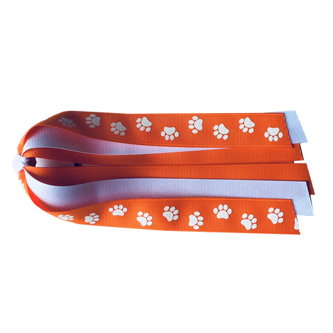 Orange and White Ponytail Streamer with Paw Prints