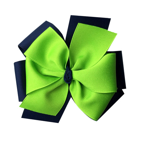 Lypple Green and Navy Extra Large Layered Hair Bow