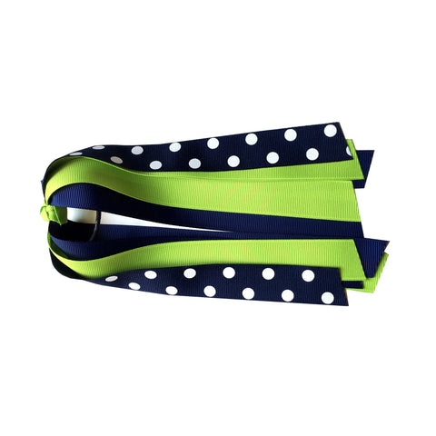 Lypple Green and Navy Polka Dot Ponytail Streamer