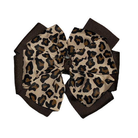 Extra Large Leopard and Brown Layered Pinwheel Bow