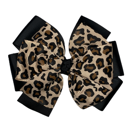 Extra Large Leopard and Black Layered Pinwheel Bow