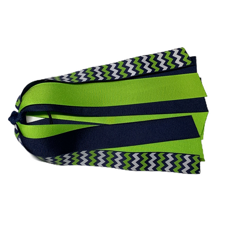 Lypple Green, White, and Navy Chevron Ponytail Streamer