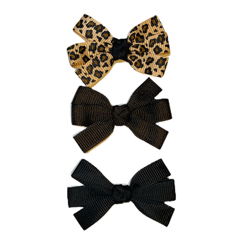 Small Leopard Pinwheel Bow Set