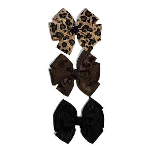 Medium Leopard Pinwheel Bow Set