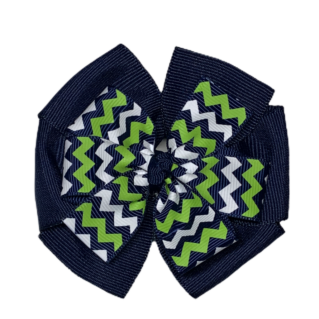 Large Layered Navy and Green, White, Navy Chevron Hair Bow