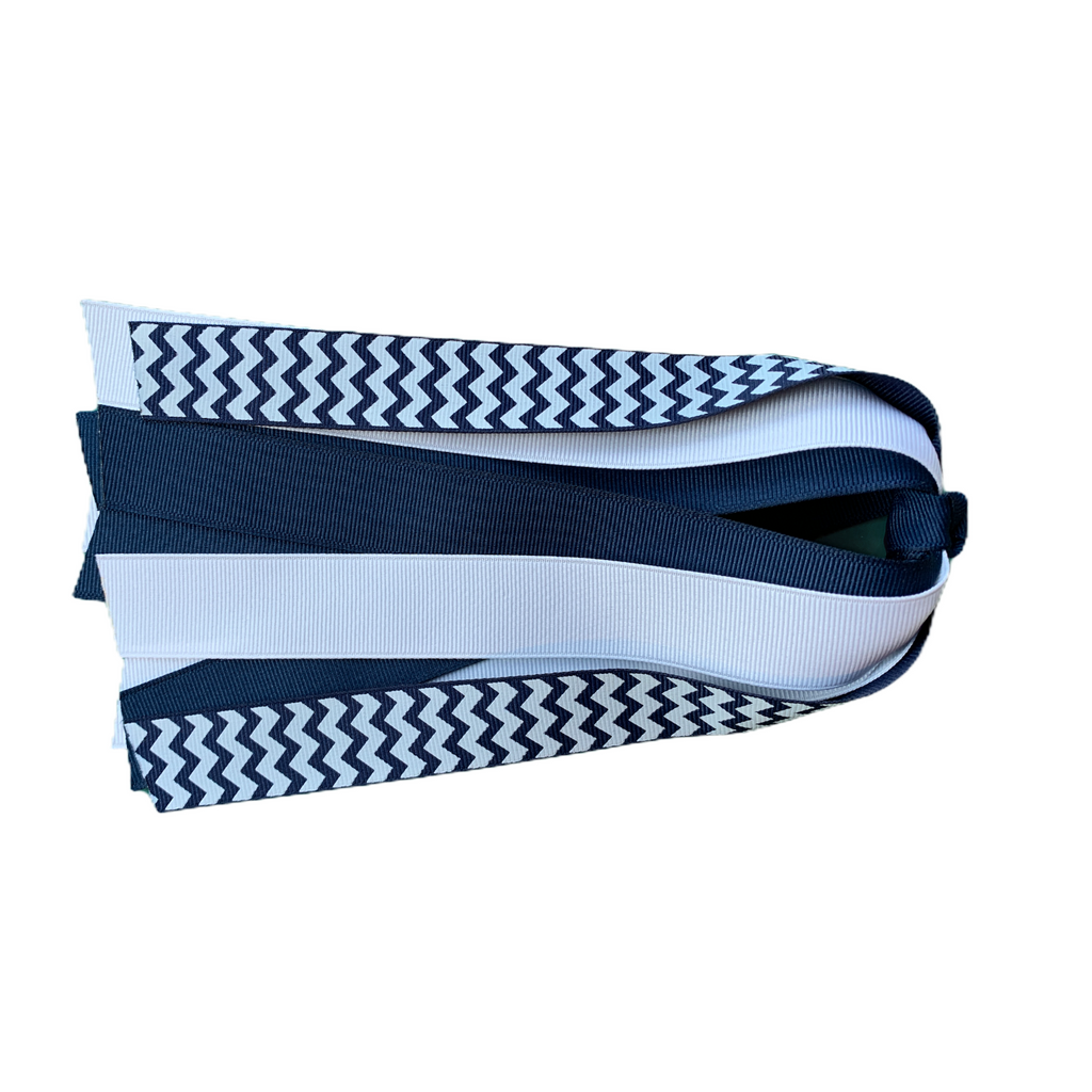 White and Navy Chevron Ponytail Streamer