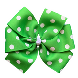 Extra Large Pinwheel Bow with White Polka Dots - 18 Color Choices