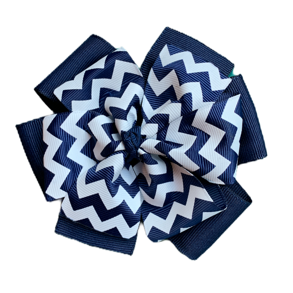 Extra Large Layered White and Navy Chevron Hair Bow