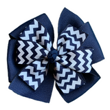 Navy and White Chevron Large Bow, Headband, and Streamer Bundle
