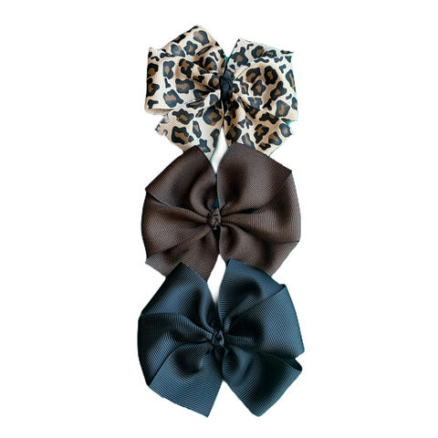 Large Leopard Pinwheel Bow Set