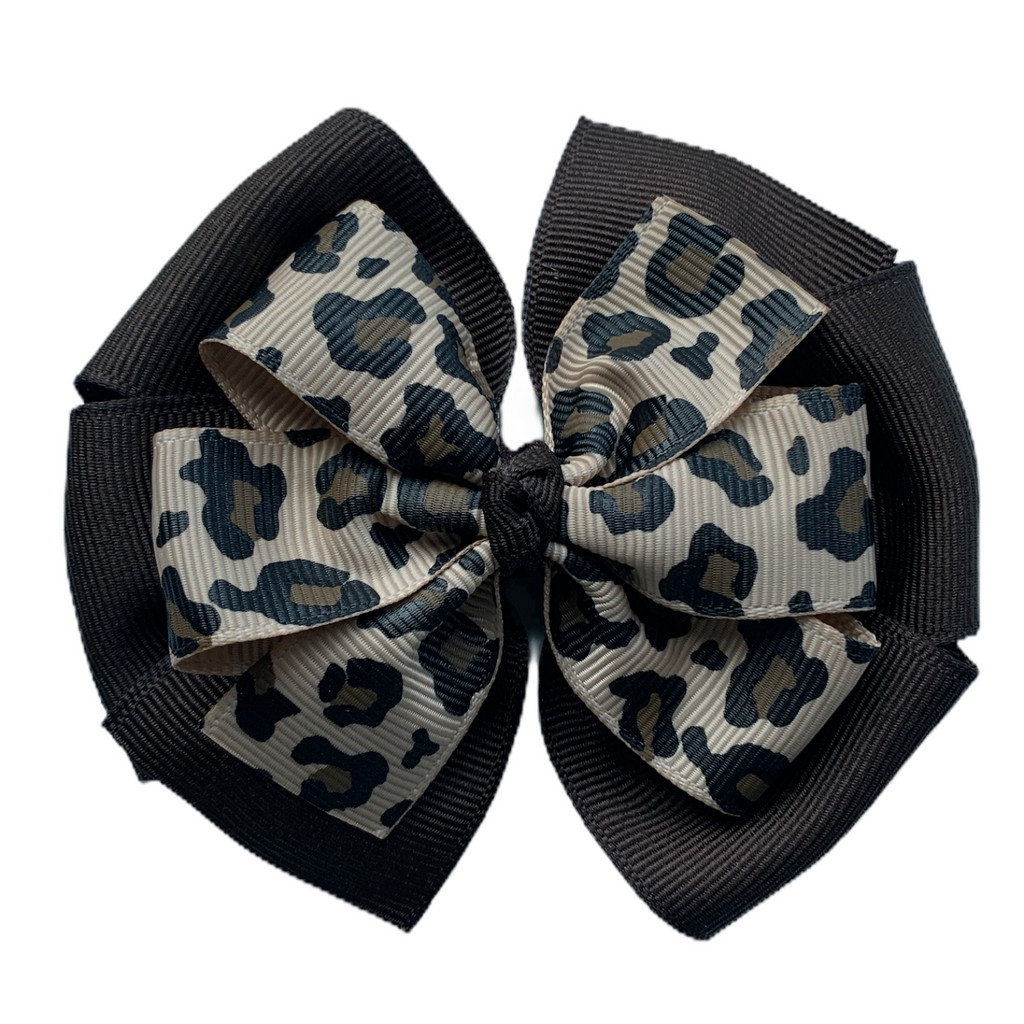Large Leopard and Brown Layered Pinwheel Bow