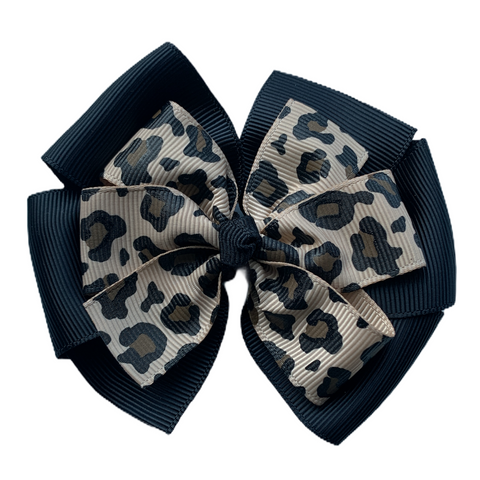 Large Leopard and Black Layered Pinwheel Bow
