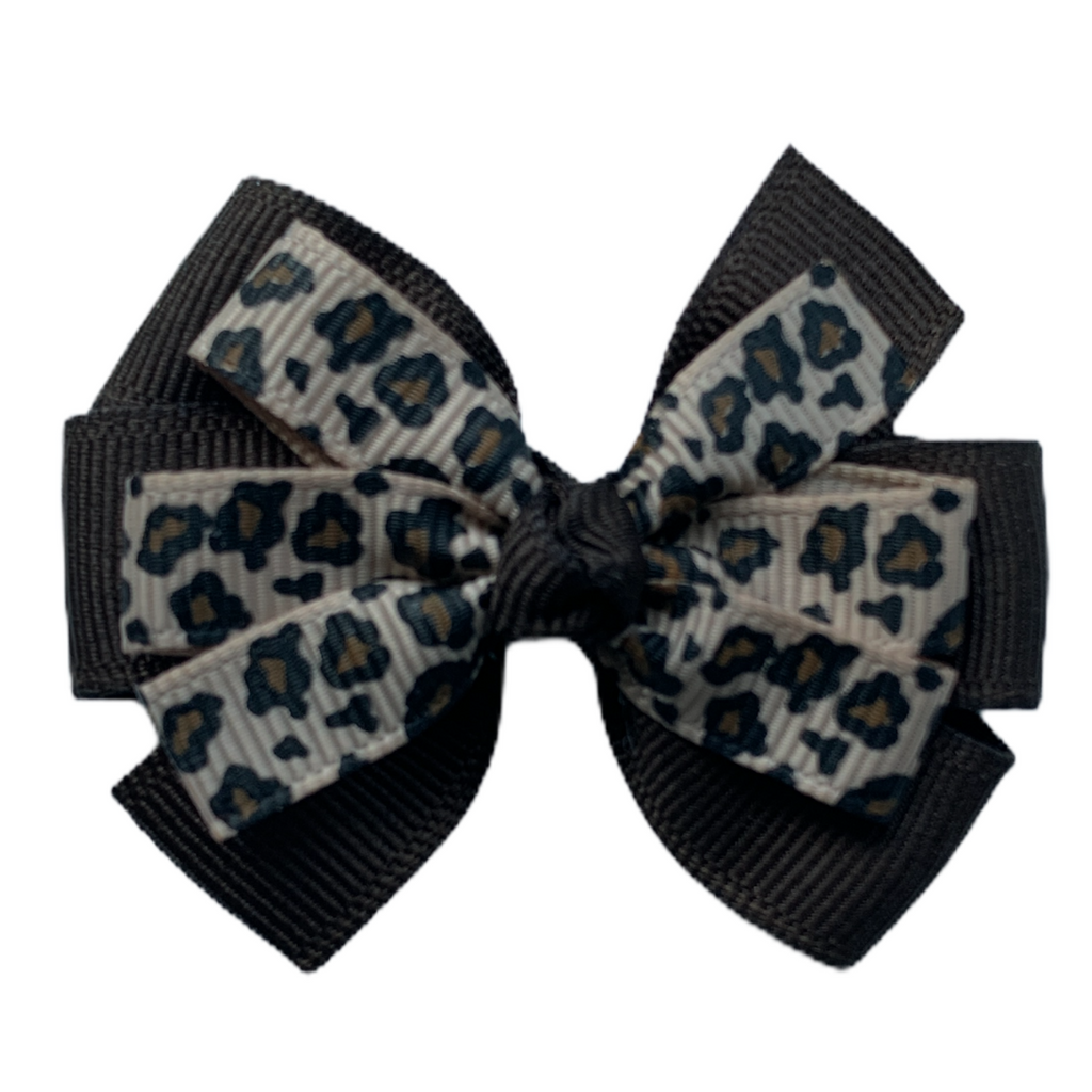 Medium Leopard and Brown Layered Pinwheel Bow