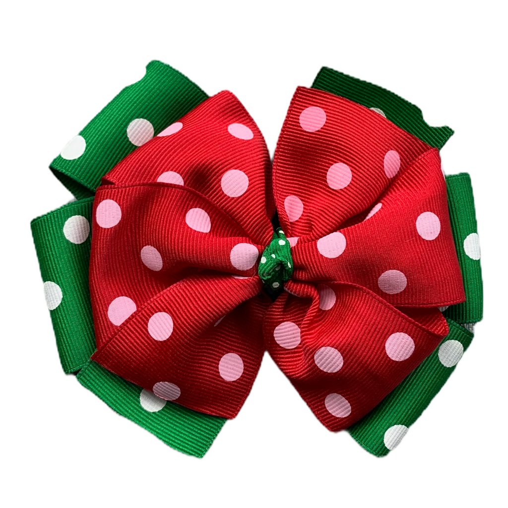 "Extra Large 5"" Emerald Green and Red Layered Bow with Polka Dots"