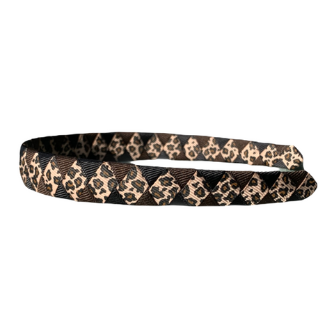 Leopard Print with Black and Brown Woven Headband