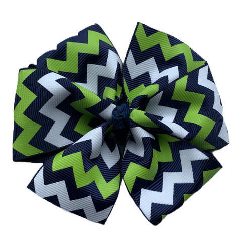 Large Sized Chevron Hair Bow - NHA Schools