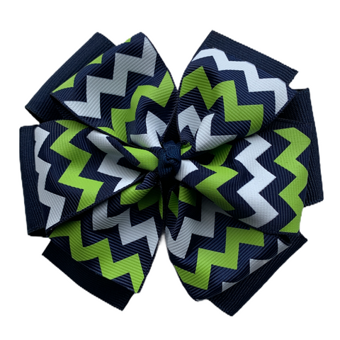Extra Large Layered Navy and Green, White, Navy Chevron Hair Bow