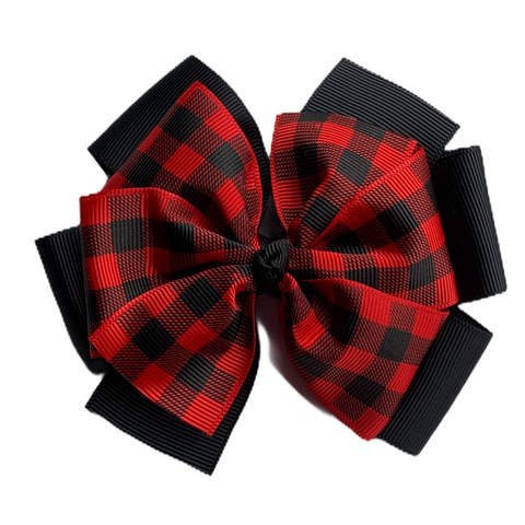 Extra Large Red Buffalo Plaid Layered Pinwheel Bow