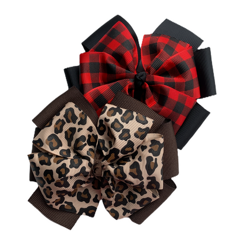 Leopard and Buffalo Plaid Bow Set - Multiple Sizes