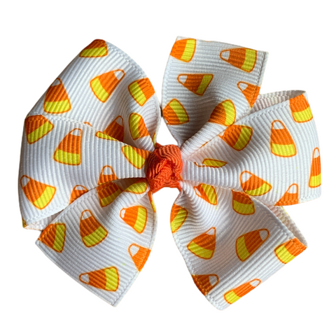 "Candy Corn Medium 3"" Pinwheel Hair Bow"