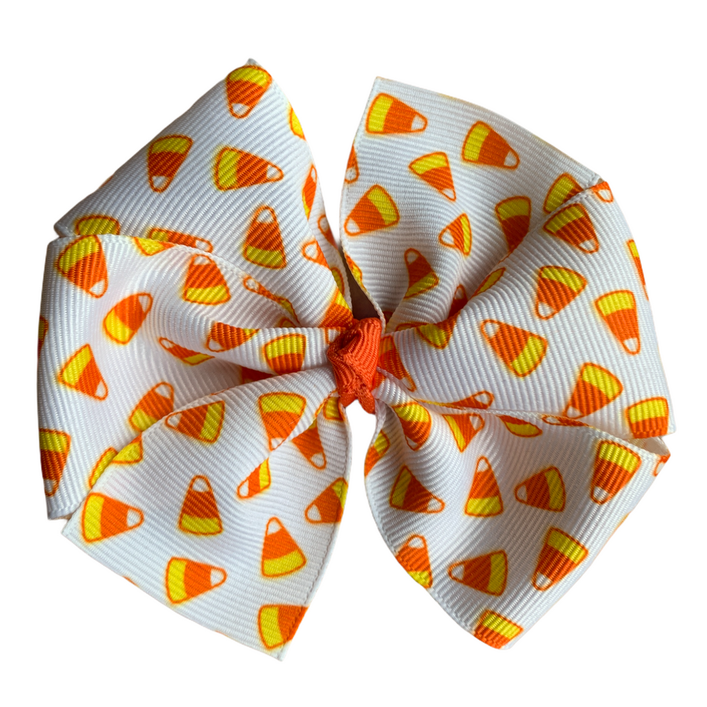 "Candy Corn Large 4"" Pinwheel Hair Bow"