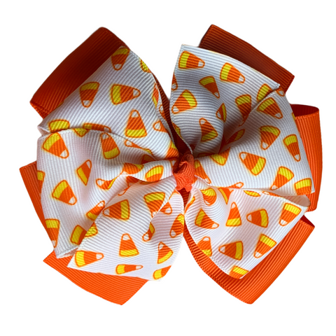 "Candy Corn Extra Large 5"" Layered Pinwheel Hair Bow"
