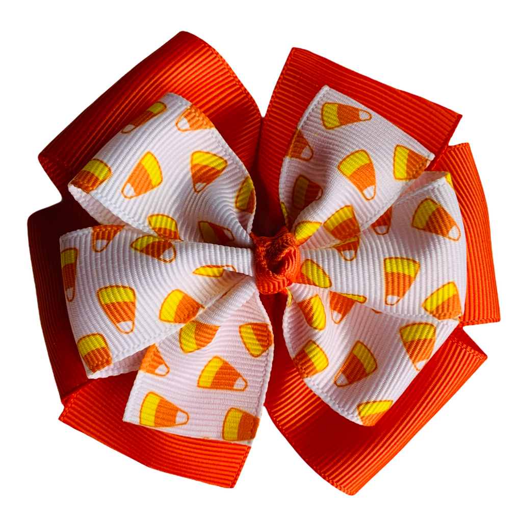 "Candy Corn Large 4"" Layered Pinwheel Hair Bow"