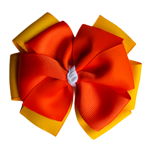 "Fall Colors Extra Large 5"" Layered Pinwheel Hair Bow"