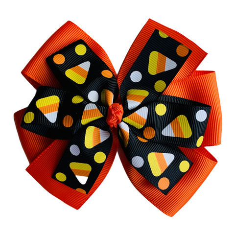 "Black Candy Corn Extra Large 5"" Layered Pinwheel Hair Bow"