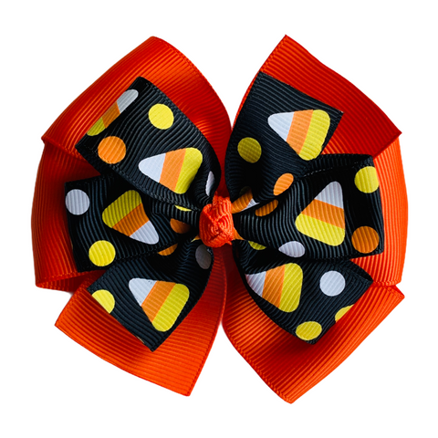 "Black Candy Corn Large 4"" Layered Pinwheel Hair Bow"