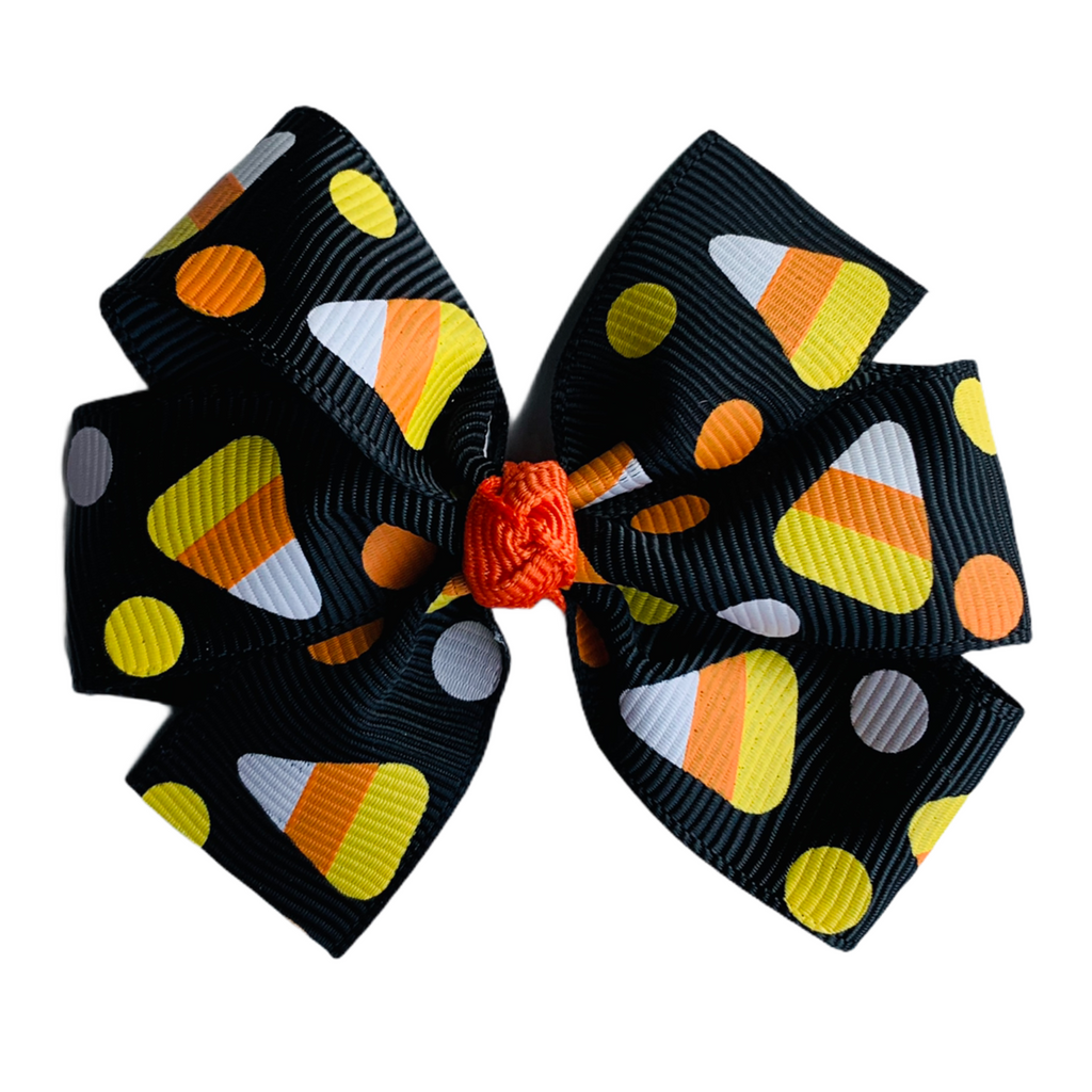 "Black Candy Corn Medium 3"" Pinwheel Hair Bow"