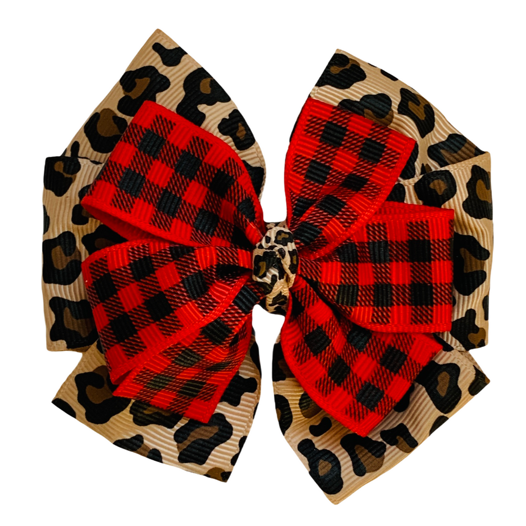 Leopard and Red Buffalo Plaid Layered Pinwheel Bow