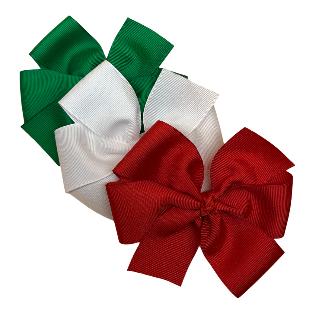 Solid Red, Green, White Pinwheel Bow Set