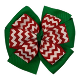 Red and Green Chevron Layered Pinwheel Bow