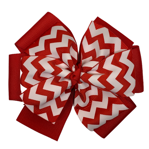 Red Chevron Layered Pinwheel Bow